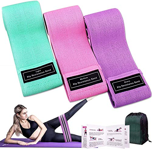 Booty Bands for Working Out, 3 Pack Fabric Resistance Bands for Women Butt and Legs, Anti-Slip & Roll Workout Booty Bands for Women Squat Glute Hip Training