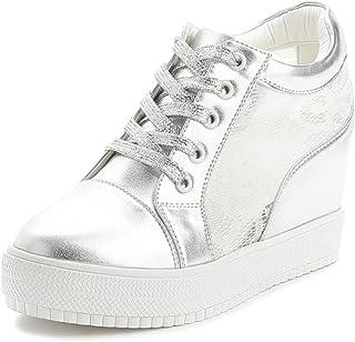 db2ff9995f14db SOIXANTE Chaussure Mode Baskets Dentelle Femme Sneaker Talon Compensé 7 CM