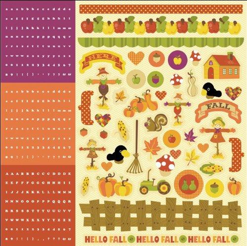 Hello Fall Paillettes Papier cartonné autocollants 12 \