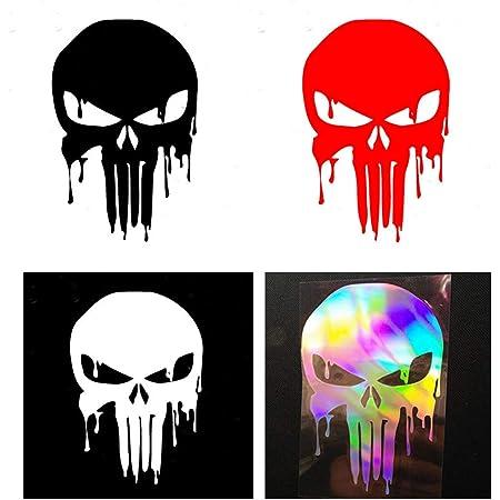 Punisher Aufkleber Auto Sticker Autosticker Autoaufkleber Decal War Zone Totenkopf Skull 20 X 28 Cm Weiss Küche Haushalt