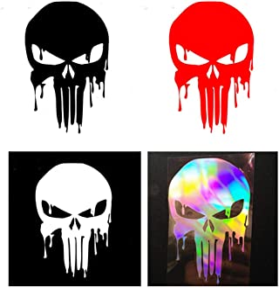 Autoaufkleber Geschnitzter Ghost Ghost Rider Punisher Blutender Schädel Lustiger Autoaufkleber Reflektierender Autoaufkleber 4er Pack