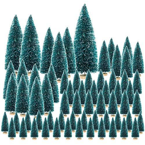 FHzytg - Albero di Natale artificiale, 65 pezzi, mini albero di Natale verde, 7 dimensioni, albero di Natale per decorazione da tavolo, piccolo albero di Natale con supporto