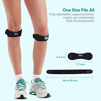 Sable Knee Support Patella 2 Pack Knee Brace Strap, Adjustable Knee Patellar Support Belt, Pain Relief for Running, H...