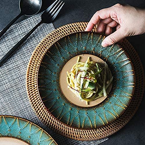 ZHFF Horno vajilla de cerámica esmaltada Plato de Comida Occidental Plato de Carne Plato de Ensalada Plato de Postre Plato de Desayuno Plato de Pasta Cuencos