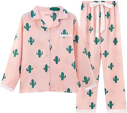 85b4128c2c LuckyDM Big Girls Teen Girls Cacti Sleepwear Long Sleeve Pajama with Pj Set  (Girls
