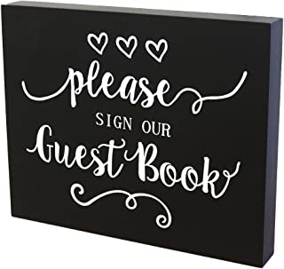 JennyGems Guest Book Sign, Wooden Sign for Wedding Ceremony and Reception - Birthday Party - Anniversary Parties - Event Decor - Please Sign Our Guest Book - Sign for for any Guest book, Parties