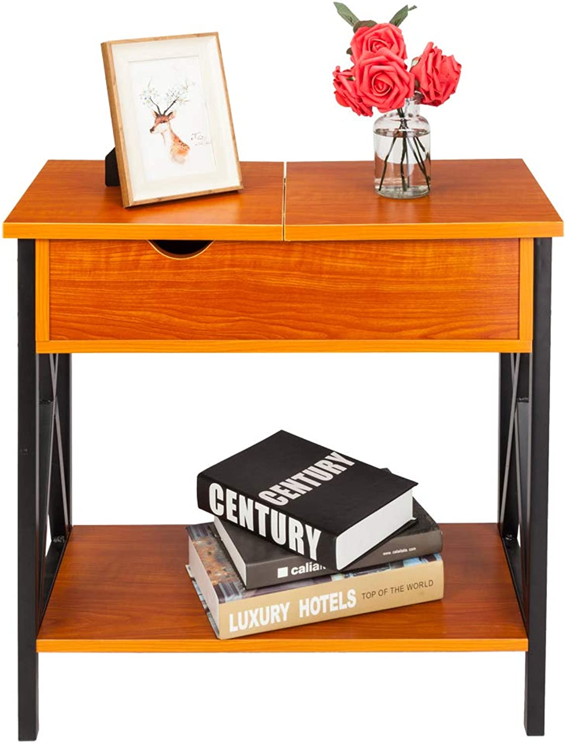 HIKTY Flip Top Open End Table Flip Top and Drawer Flip Collection Top Table Chair Side Table Wooden End Shelf for Bedroom Home (Cherry)