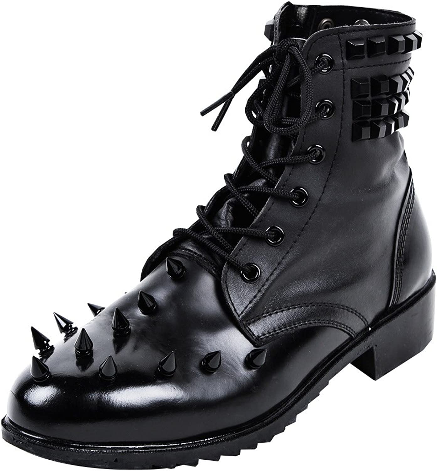 ByTheR Mens Classic Style Black Metal Studded Real Leather Boots
