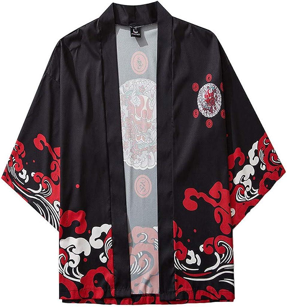 Mens Kimono Cardigan, F_Gotal Mens Japanese Kimono Shawl Collar Cardigan Print Kimono Jackets Open Front Drape Cape Coat