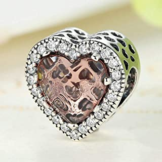 HMMJ S925 Sterling Silver Bead Heart-shaped Opal Diamond Bracelet Compatible with Pandora & European Bracelets Necklaces (...