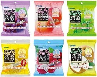 オリヒロ ぷるんと蒟蒻ゼリー 最新人気6種セット(グレープ・ ピーチ・マスカット・ライチ・カロリーゼログレープフルーツ・梨)各20gx6個<計6袋・36個>