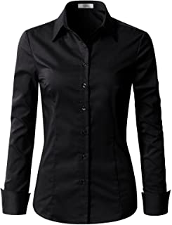 Womens Slim-Fit Long Sleeve Stretchy Button Down Collar...