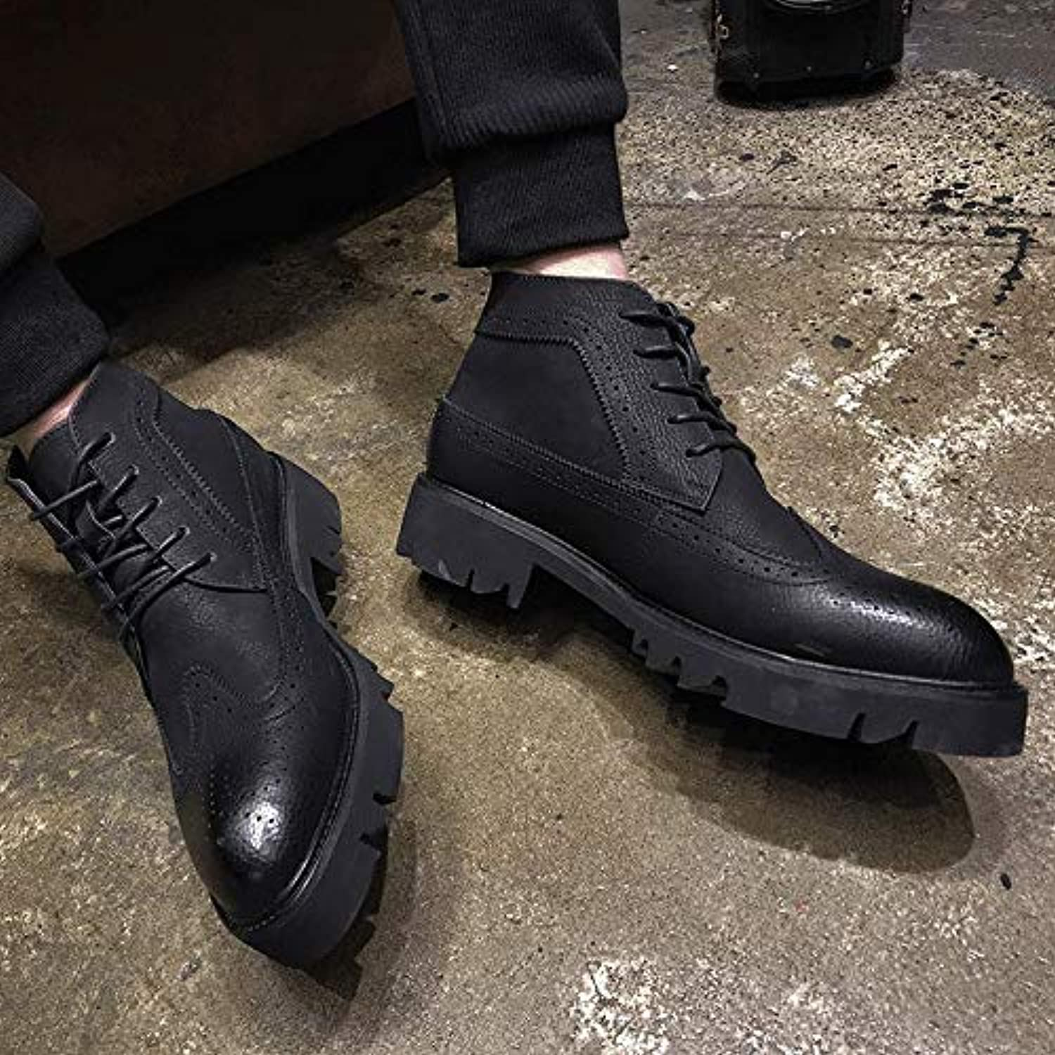 Shukun Men's boots Autumn And Winter High Men'S shoes Carved Thick Base Increased Men'S Boots Martin Boots In The Boots Chelsea Boots