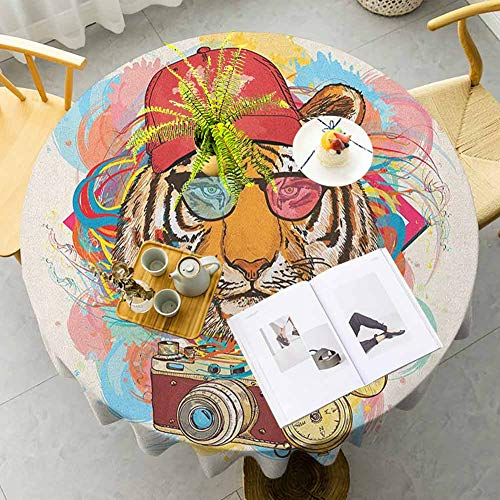 Pattern Round Tablecloth Hipster Rapper Tiger with Sunglasses Hat and Camera Artist Hippie Animal Comic Print Multicolor Round Table Cover For Interior And Exterior Decoration Diameter 35""