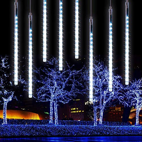 Falling Rain Lights 11.8 inch 8 Tube 224 LEDs, Meteor Shower Lights Waterproof, Icicle Snow Fall String Cascading Lights, Christmas Lights for Holiday Party Wedding, Garden Decoration (White)