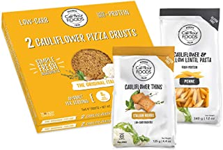 NEW Cali'flour Flavor of Italy Bundle - 2 Boxes of Original Italian Crusts (4 Crusts Total), 1 Bag Each of Cali'flour Penne and Italian Herbs Thins - All Products Free Of Grain, Gluten, Soy