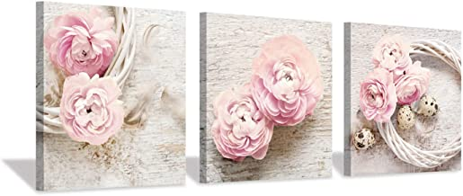 """Floral Picture Canvas Wall Art: Flower Artwork Painting for Living Room, canvas& wooden frame, Pink Peony, 12""""x12""""x3 panels"""