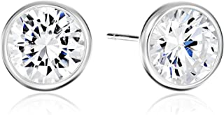 Gold or Rhodium Plated Sterling Silver AAA Cubic Zirconia Bezel Stud Earrings
