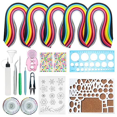 Set de Papel de Filigrana, 13 PCS Kits Papel Colores para Filigranas con 5 PCS 26 Colores 1300 Tiras de Quilling Papel DIY Herramientas Quilling