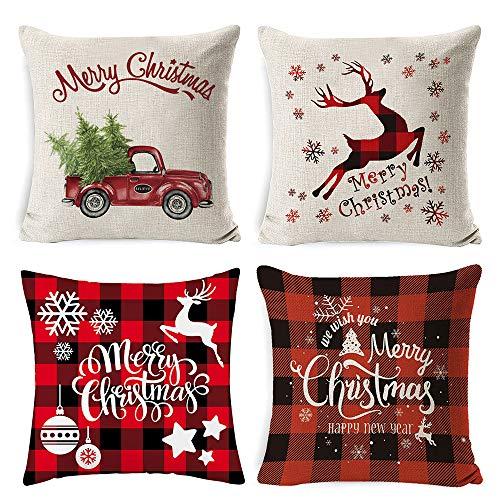 4 Stück Sofa Kissenbezug Weihnachten Kissenbezüge Set Weihnachtskissenbezug Deko Kissenhüllen Weihnachten Leinen Dekokissen Kissenbezüge Wohnzimmer Zierkissenbezüge 45x45 Schneeflocke Rentier