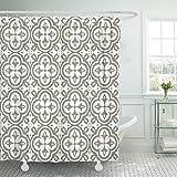 Retro weißer Klee in Reihenform auf grau-braunem Duschvorhang Wasserdichtes Polyestergewebe 60 x 72 Zoll mit Haken