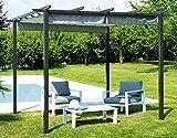 vorghini Pergola da Giardino in Alluminio 3X3m Chains Antracite e Grigia