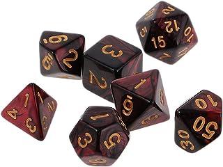 LDYGHome Dados Set para Dragones Y Mazmorras D&D, Dado Poliédrico Y De rol, 7Pcs De Dos Colores Rojo Y Negro 16Mm D20 D12 D10 D8 D6 D4 Dados para Juego De Mesa: