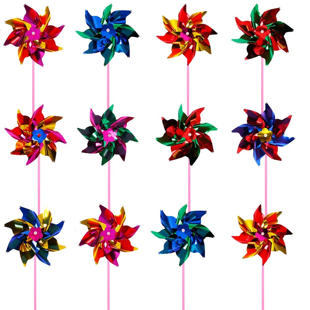 24 Pack Rainbow Pinwheels for Yard and Garden June Fox Pinwheels Bulk Assorted Colors