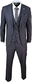 Mens 3 Piece Suit Charcoal Tailored Fit Smart Formal 1920 Classic Vintage Gatsby