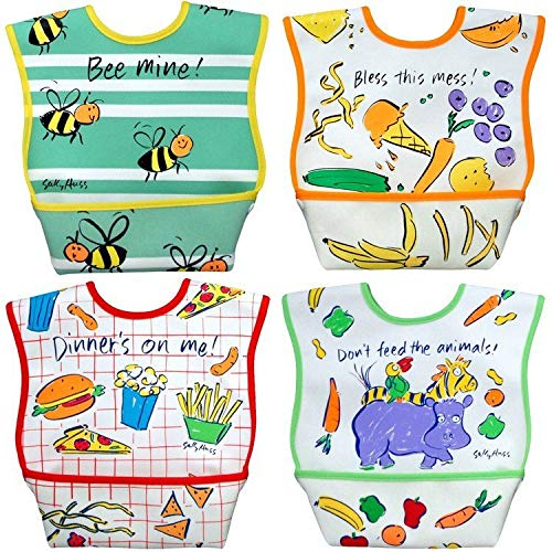Dexbaby Big Mouth Leak-Proof Dura Bib w/Catch-All Pocket - Large | 6 Months + (4 Pack)