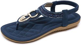 SANMIO Damessandalen, platte teenslippers, bohemian strasssandaletten, zomer, PU-leren sandalen