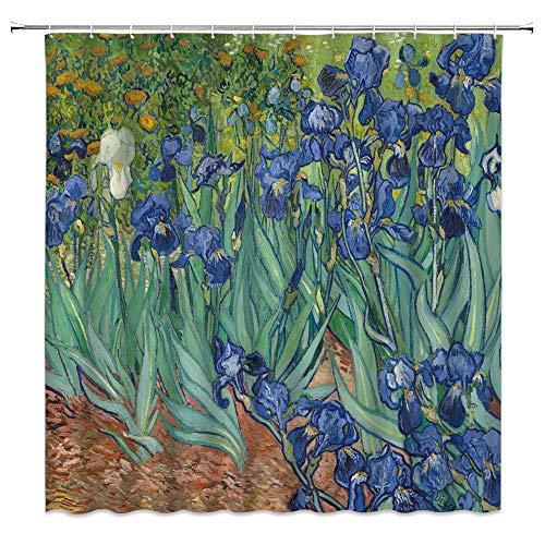 Aliyz Iris Duschvorhang Van Gogh Iris Retro Ölgemälde Garten Künstler zu Hause 3D-Druck wasserdichte Beschichtung Polyester Stoff Bad mit 12 Haken 72 cm lang