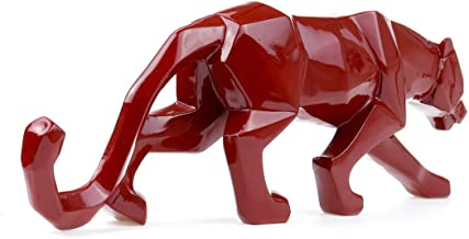 JDSHSO Modern Red Gold White Black Panther Resin Crafts Abstract Sculpture Geometric Leopard Statue Home Decor Gift