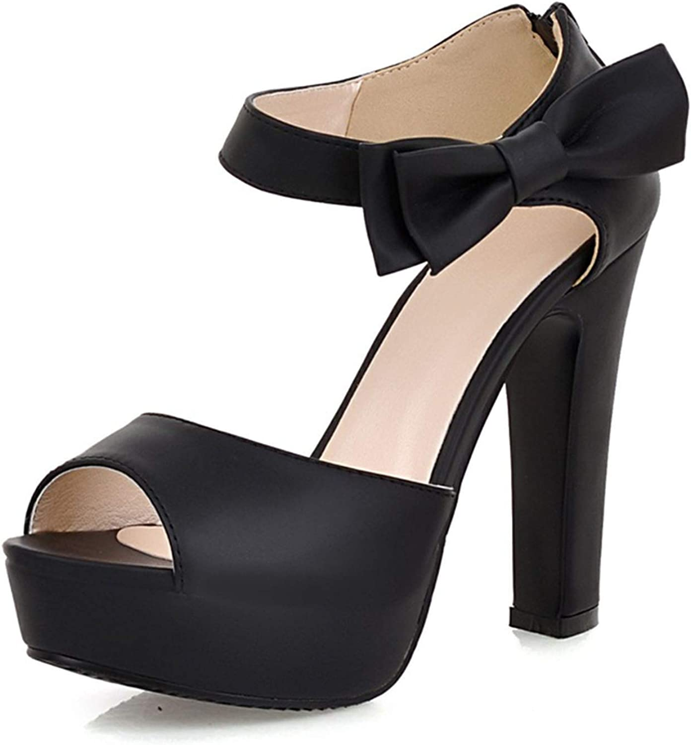 Fairly New Summer Peep Toe Ankle Strap Sweet Thick High Heel Platform Lady shoes,Black,7
