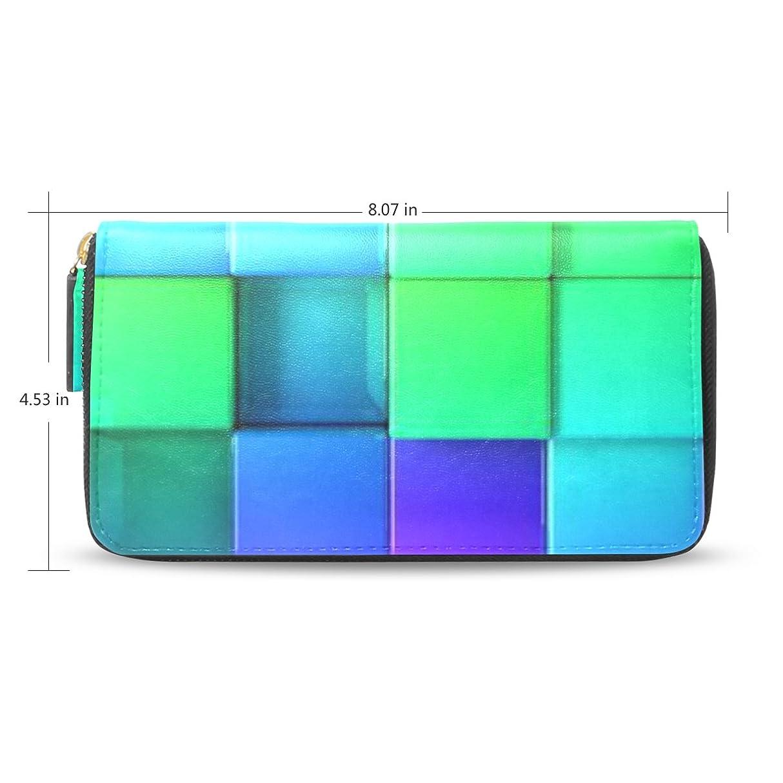 落ちた拮抗するレンジレディースブロック虹3dパターンレザーロングウォレット&財布ケースカードホルダー
