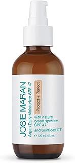 Josie Maran Argan Daily Moisturizer SPF 47 and Sunboost ATB - Lightweight, Quick-Absorbing Sunscreen Nourishes and Moisturizes Skin (120 ml/4.0 oz, Luxury Size)