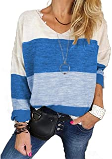 Howely Women's Color Block Casual Loose T-Shirt Long Sleeve Blouse Top