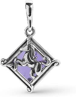 Carolyn Pollack Sterling Silver Amethyst Gemstone Unicorn Charm or Pendant