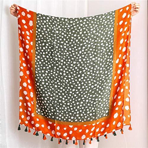 BufandaMujer Chal Bufandas De Seda De Material De Algodón De Moda para Mujer Bufanda De Algodón Estampado Señora Protector Solar Chal-06_180X90Cm