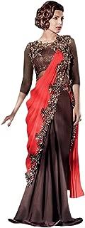 Peach Priyanka Bollywood Ready Made LycraBrown Style Saree Cocktail Party Indian Muslim Pakistani Sari Gown Blouse Hit
