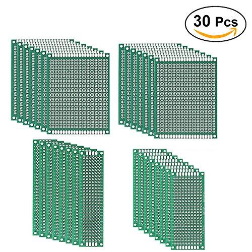UEETEK 30pcs Prototipo doble cara Placa PCB Kit mayoría