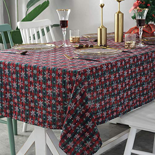 HTUO Wipe Clean Table Cloth Christmas Snowflake Tablecloth Polyester Cotton Restaurant Dust Proof Table Cover Rectangular Holiday Tablecloth Buffet Decoration Waterproof 140 * 160cm