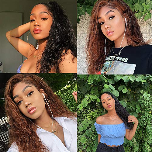 """Lace Frontal Human Hair Wigs For Black Women 9A Brazilian Remy Natural Wave Wet and Wavy Wigs 100% Virgin Hair Pre Plucked Lace Frontal Wig Natural Hairline 150% Density Full End Short Lace Wigs 10"""""""