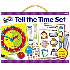 A fun approach to learning to tell the time Helps children to learn how to tell, measure and understand the time Includes a step by step guide with tips and game ideas Contains teaching clock, 2 sand timers (1 and 5-minute), 2 large twelve-sided dice...