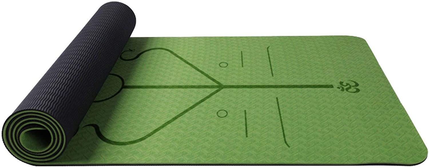 TPE Twocolor Gym Mat with Body Position Line Suitable for Beginners NonSlip and Tasteless Fitness Mat,Ivory