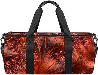 DJROWW Braun-orange-rotes fraktales Muster Duffel Schultertasche Tragetasche Segeltuch Reisetasche für Gym Sport Tanz Reisen Wochenender