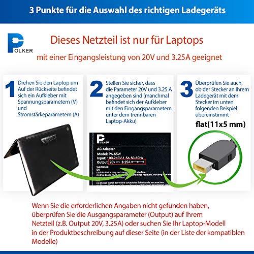 Netzteil Laptop Lenovo 20v 65w 3.25a USB (Flat) | Ladegerät für Notebook Lenovo 65 Watt 3.25 a | Ladekabel Stromkabel Ideapad thinkpad Flex Yoga