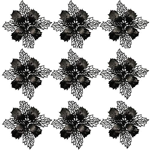Worldoor 20PCS Glitter Poinsettia Christmas Tree Ornaments Artificial Flowers for Christmas Decorations (Black)