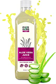 EverHerb 100% Organic Aloe Vera Juice with Pulp | Rejuvenates Skin and Hair | Zero Added Sugar - 1000 mL Brand: EVER HERB