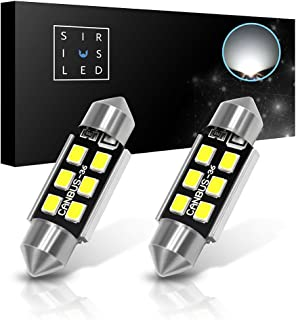 "SiriusLED Super Bright 2835 Chipset Canbus Error Free LED Festoon Bulbs for Car Interior License Plate Dome Courtesy Lights 1.50"" 36MM Festoon 6418 C5W 6000K Xenon White Pack of 2"